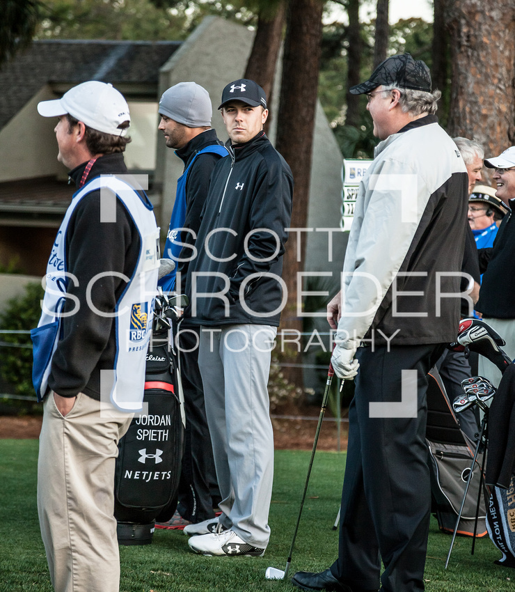 2014 Masters runner-up, Jordan Spieth, chats with his Pro-Am team