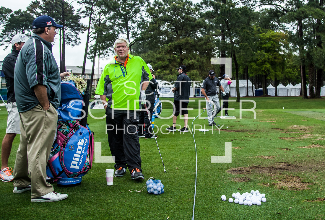 Among those on the practice tee Tuesday are John Daly, Pat Perez, and Nick Faldo