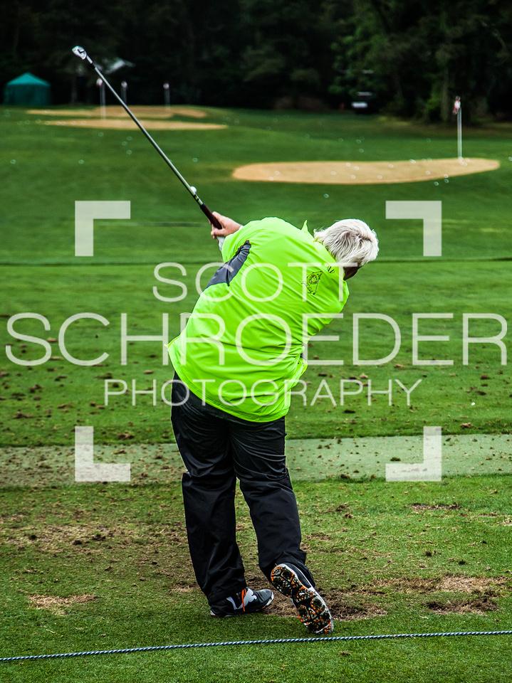 John Daly on the practice range Tuesday