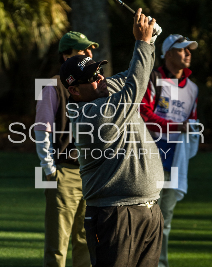 Top 12 Masters finisher, Kevin Stadler, sends his ball onto the first green at Harbour Town Wednesday